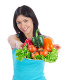 Woman with healthy vegetarian vegetables salad Royalty Free Stock Images