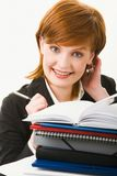 Woman with heap of papers Stock Photos