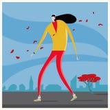 Woman with heaphones walk stock illustration