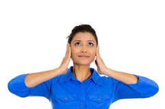 Woman, hear no evil Stock Image