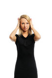 Woman hear nothing Royalty Free Stock Photography