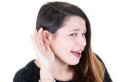 Woman with hearing loss hard of hearing open mouth stock images