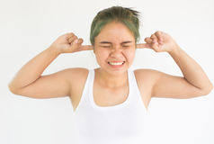 Woman with hearing problems. Headache woman or stress woman on white background,Woman with hearing problems concept background Stock Photography