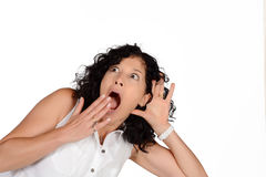 Woman hearing something. Royalty Free Stock Photos