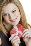 Woman with heart. Portrait of young woman with heart Stock Photography