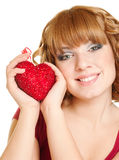 Woman with heart. Beautiful smiling woman with heart on white background Stock Photography