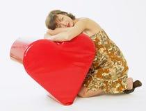 Woman with a heart Stock Photos
