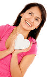 Woman with a heart Stock Photo