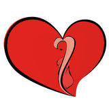Woman in heart. A vector image heart in which is closed figure of a woman Stock Image