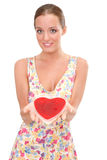 Woman with heart Royalty Free Stock Image