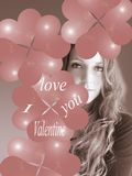 Woman with heart. Beautiful woman with bubble pink heart Royalty Free Stock Images
