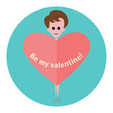 Woman with heart on a background of blue circle. Flat icon. Happy Valentine`s Day. Stock Image