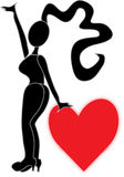 Woman with heart. Woman with big hips with a red heart Stock Images
