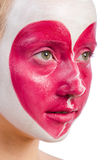 Woman with heart face painting isolated Stock Image
