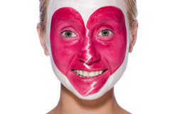 Woman with heart face painting isolated Stock Photos
