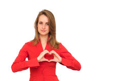 Woman heart gesturing Stock Photo