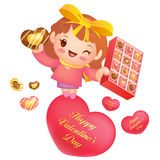 A woman Heart holding of chocolates a box. Valentine Character D Stock Photo