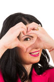 Woman heart shape in front of eye Royalty Free Stock Image