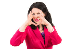 Woman heart shape in front of smile Stock Photos