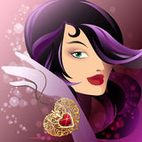Woman with heart shape pendant. Illustration with young pretty woman who rocks golden pendant with heart inside  drawn in fantasy style Stock Images