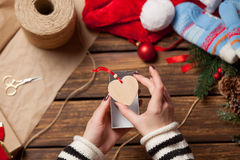 Woman and heart shape toy Stock Images