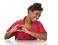 Woman and heart sign Royalty Free Stock Photo