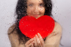 Woman with heart Royalty Free Stock Photo