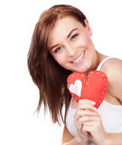 Woman with heart soft toy Stock Image