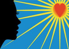 The woman, heart and the sun. Illustration raster, woman's face profile, heart against the blue sky and the sun with beams Royalty Free Stock Image