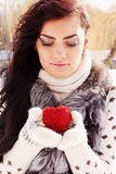 Woman with heart Stock Photos