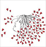 Woman with hearts in hair Stock Photos