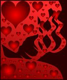 Stylized Woman portrait with hearts Royalty Free Stock Images