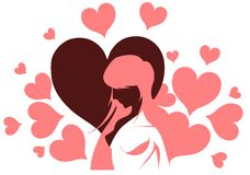 Woman with hearts Royalty Free Stock Photos