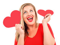 Woman with hearts Royalty Free Stock Image