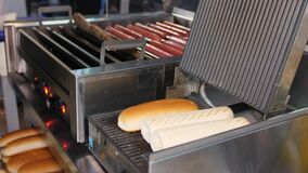 Woman heats buns to prepare delicious hotdogs in cafe