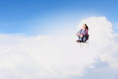 Woman in heaven Stock Photo