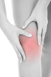 Woman heaving leg injury Stock Image