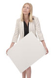 Woman with heavy board Royalty Free Stock Photos