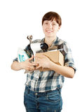 Woman with heavy-handed of household appliances. Young woman with heavy-handed of household appliances over white Royalty Free Stock Images