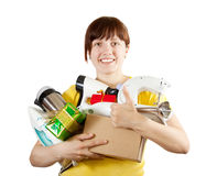 Woman with heavy-handed of household appliances. Young woman with heavy-handed of household appliances over white Stock Photo
