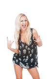Woman and heavy metal gesture Stock Photos