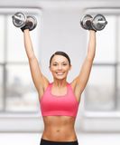 Woman with heavy steel dumbbells Stock Photography