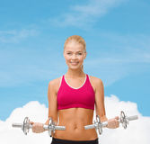 Woman with heavy steel dumbbells Stock Photo