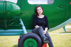 Woman and helicopter Royalty Free Stock Photo