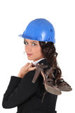 Woman with helmet Stock Images