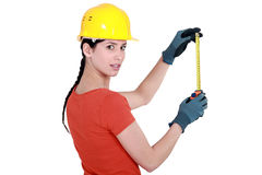 Woman with helmet Royalty Free Stock Photography