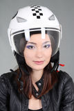 Woman in helmet on head Royalty Free Stock Images