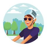 Woman with helmet profile parkscape. Woman with helmet and sunglasses profile parkscape round icon vector illustration graphic design vector illustration