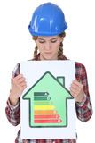 Woman with helmet showing a sign Stock Photo