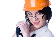 Woman in helmet wyh level Stock Photos